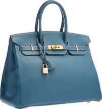 Hermes 35cm Blue Thalassa Clemence Leather Birkin Bag with Gold Hardware G Square, 2003 Very Good