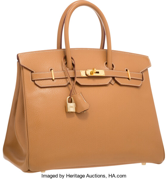 9749a46053 Hermes 35cm Natural Vache Liegee Leather Birkin Bag with