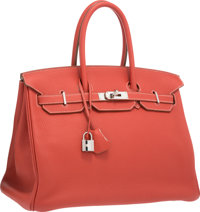Hermes Limited Edition 35cm Sanguine & White Clemence Leather Eclat Birkin Bag with Palladium Hardware O Square