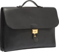 Luxury Accessories:Bags, Hermes 40cm Black Fjord Leather Double Gusset Sac a DepechesBriefcase Bag with Gold Hardware. F Square, 2002. VeryGo...