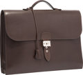Luxury Accessories:Bags, Hermes 40cm Havane Evergrain Leather Double Gusset Sac a DepechesBriefcase Bag with Palladium Hardware. G Square, 2003...