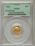 Commemorative Gold, 1922 G$1 Grant Gold Dollar, No Star, MS65 PCGS. PCGS Population (476/586). NGC Census: (251/390). Mintage: 5,000. Numismedi...