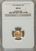 Commemorative Gold, 1922 G$1 Grant Gold Dollar, No Star, MS66 NGC....