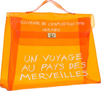 Hermes 40cm Orange Vinyl Souvenir de l'Exposition Kelly Bag with Gold Hardware 1998 Good to Very