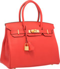 "Luxury Accessories:Bags, Hermes 30cm Rouge Pivoine Clemence Leather Birkin Bag with GoldHardware. R Square, 2014. Pristine Condition. 12""..."