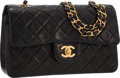 """Luxury Accessories:Accessories, Chanel Black Quilted Lambskin Leather Medium Double Flap Bag with Gold Hardware. Very Good Condition . 9"""" Width x 6"""" H..."""