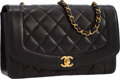 "Luxury Accessories:Accessories, Chanel Black Quilted Lambskin Leather Flap Bag with Gold Hardware .Very Good Condition . 10"" Width x 6"" Height x 2.5"" Dep..."