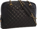 """Luxury Accessories:Accessories, Chanel Black Quilted Lambskin Leather Shoulder Bag with Gold Hardware . Good to Very Good Condition . 14"""" Width x 10"""" Heig..."""