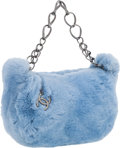 "Luxury Accessories:Accessories, Chanel Blue Rex Fur Bag With Gunmetal Hardware . ExcellentCondition . 11"" Width x 6"" Height x 2"" Depth, 4"" HandleDro..."