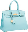 """Luxury Accessories:Bags, Hermes 30cm Blue Atoll Epsom Leather Birkin Bag with Gold Hardware.T, 2015. Pristine Condition. 12"""" Width x 8""""He..."""