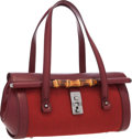 """Luxury Accessories:Accessories, Gucci Red Leather & Red Monogram Canvas Bullet Bag with BambooHardware . Excellent Condition. 12.5"""" Width x 7"""" Height x5..."""