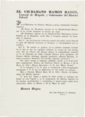 Miscellaneous:Broadside, [Battle of Pueblo Viejo] and [Antonio Lopez de Santa Anna].Broadside Presidential Decree Announcing a Monument HonoringAnton...