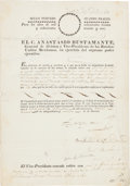 Autographs:Non-American, Anastasio Bustamante Signed Military Discharge. ...