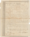 Miscellaneous:Ephemera, Republic of Texas, County of Brazoria Partly Printed Land Title....