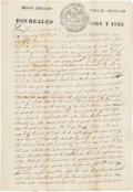 Autographs:Authors, [Alamo Defenders]. A Land Indenture Conveying Land From Umphries Branch to Thomas R. Miller, Signed Twice by John Benjamin Kel...