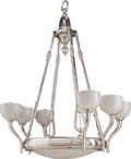 Decorative Arts, French:Lamps & Lighting, A Capon Art Deco Chrome and Frosted Glass Chandelier, circa 1930.39 inches high x 31 inches diameter (99.1 x 78.7 cm). PR...