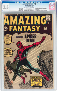 Amazing Fantasy #15 (Marvel, 1962) CGC VG- 3.5 Off-white to white pages
