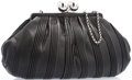 """Luxury Accessories:Accessories, Tiffany & Co. Black Pleated Leather Evening Bag with SilverHardware. Very Good Condition. 14"""" Width x 10"""" Height x 3""""Dep..."""