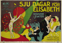 "Seven Days for Elizabeth (Svalefilm, 1928). Swedish Poster (28"" X 40""). Ice skater Sonja Henie made her film d..."