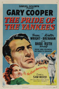 "Movie Posters:Sports, Pride of the Yankees (RKO, R-1949). One Sheet (27"" X 41""). This poster represents one of those rare events where the reissue..."