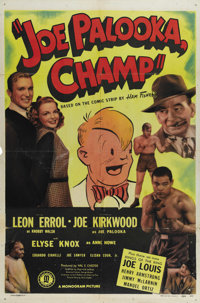 "Joe Palooka, Champ (Monogram, 1946). One Sheet (27"" X 41""). How could the producers at Monogram deliver a knoc..."
