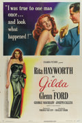 "Movie Posters:Film Noir, Gilda (Columbia, 1946). One Sheet (27"" X 41"") Style A. This smoldering tale of passion and betrayal stars Rita Hayworth and ..."