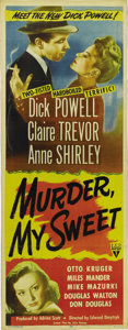 "Movie Posters:Film Noir, Murder My Sweet (RKO, 1944). Insert (14"" X 36""). ""Murder, My Sweet""was based on Raymond Chandler's novel, ""Farewell My Love..."