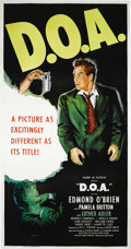 "Movie Posters:Film Noir, D.O.A. (United Artists, 1950). Three Sheet (41"" X 81""). EdmundO'Brien stars in one of the most original film noirs ever mad..."