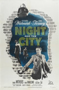 "Movie Posters:Film Noir, Night and the City (20th Century Fox, 1950). One Sheet (27"" X 41""). Richard Widmark is a con man and Gene Tierney is the wom..."