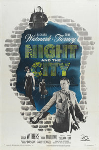 "Night and the City (20th Century Fox, 1950). One Sheet (27"" X 41""). Richard Widmark is a con man and Gene Tier..."