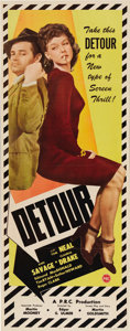 "Movie Posters:Film Noir, Detour (PRC, 1945). Insert (14"" X 36""). Without a doubt this is oneof the strangest and creepiest film noirs ever made as T..."