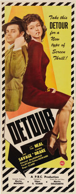 """Detour (PRC, 1945). Insert (14"""" X 36""""). Without a doubt this is one of the strangest and creepiest film noirs..."""