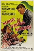 "Movie Posters:Film Noir, Sorry, Wrong Number (Paramount, 1948). One Sheet (27"" X 41"").Barbara Stanwyck portrays a wealthy invalid who inadvertently ..."