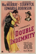 "Movie Posters:Film Noir, Double Indemnity (Paramount, 1944). One Sheet (27"" X 41""). Takenfrom the James M. Cain novel, the story centers around an i..."