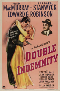 """Double Indemnity (Paramount, 1944). One Sheet (27"""" X 41""""). Taken from the James M. Cain novel, the story cente..."""