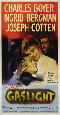 """Gaslight (MGM, 1944). Three Sheet (41"""" X 81""""). Ingrid Bergman, driven almost to the point of insanity by her h..."""
