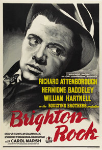 "Brighton Rock (Associated British Picture Corporation, 1947) British One Sheet (27"" X 40""). The 24-year-old Ri..."