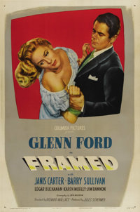 "Framed (Columbia, 1947). One Sheet (27"" X 41""). Glenn Ford gets caught up in the web of femme fatale Janis Car..."