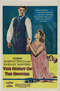 "The Night of the Hunter (United Artists, 1955). One Sheet (27"" X 41""). No one who has seen this nightmarish fi..."