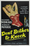 "Movie Posters:Drama, Don't Bother to Knock (20th Century Fox, 1952). One Sheet (27"" X41""). Richard Widmark, Marilyn Monroe and Anne Bancroft sta..."