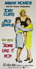 "Movie Posters:Comedy, Some Like It Hot (United Artists, 1959). Three Sheet (41"" X 81"").The famous trio of Jack Lemmon, Tony Curtis, and Marilyn M..."