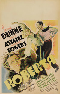 """Roberta (RKO, 1935). Window Card (14"""" X 22""""). The incredibly popular dance team of Fred Astaire and Ginger Rog..."""