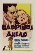 """Movie Posters:Comedy, Happiness Ahead (First National, 1934). One Sheet (27"""" X 41""""). Inthis Warner's musical, Josephine Hutchinson (in her screen..."""