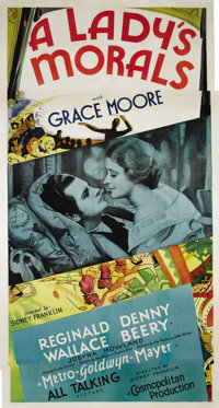 "A Lady's Morals (MGM, 1930). Three Sheet (41"" X 81""). Metropolitan Opera diva Grace Moore made her film debut..."