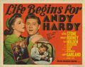 """Movie Posters:Comedy, Life Begins for Andy Hardy (MGM, 1941). Title Lobby Card and SceneCards (5) (11"""" X 14""""). Andy Hardy (Mickey Rooney) heads t...(Total: 6 Movie Posters)"""