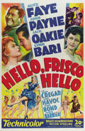 "Movie Posters:Comedy, Hello Frisco, Hello (20th Century Fox, 1943). One Sheet (27"" X41""). The 1943 Academy Award winner for Best Music, Original ..."