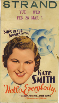 "Hello, Everybody! (Paramount, 1933). Midget Window Card (8"" X 14""). Kate Smith was a big radio star when she w..."