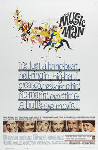 "The Music Man (Warner Brothers, 1962). One Sheet (27"" X 41""). Robert Preston stars as con man Harold Hill, who..."