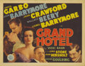 "Movie Posters:Drama, Grand Hotel (MGM, 1932). Title Lobby Card (11"" X 14""). This title card features depictions of all of the above-the-title act..."