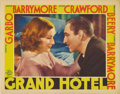 "Movie Posters:Drama, Grand Hotel (MGM, 1932). Lobby Card (11"" X 14""). Greta Garbo andJohn Barrymore are featured in this beautiful portrait card..."